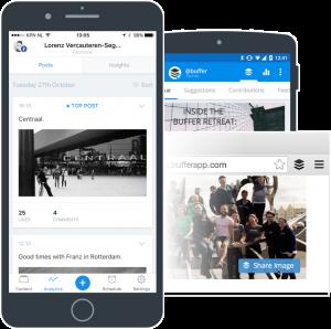تطبيق buffer لادارة مواقع التواصل الاجتماعي