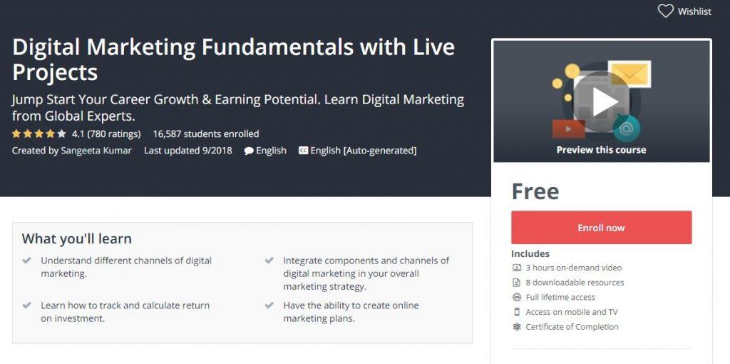 تعلم اساسيات التسويق الرقمي مع مشروع حي